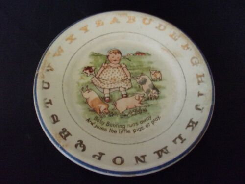 """Baby Bunting pigs Vintage Antique ? 6"""" child  plate Hotel alphabet  WEAR  AGING"""