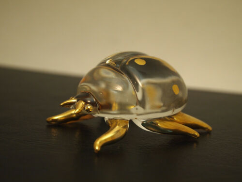 Crystal And Gold Lady Bug Glass Figurine / Paperweight