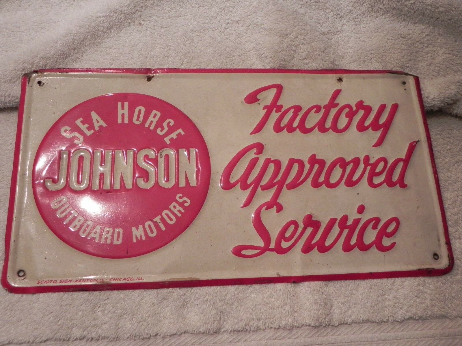 Vintage Original Johnson Sea Horse Outboard 1950's Factory Approved Service sign