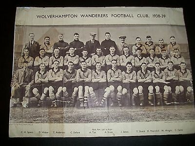 WOLVERHAMPTON WANDERERS WOLVES FOOTBALL TEAM PICTURE 1938/1939