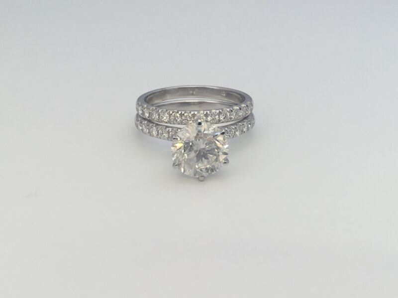 Diamond Ring Band Set Vs1 18k White Gold 2 Ct Estate Womens Flawless Size 6 7 8