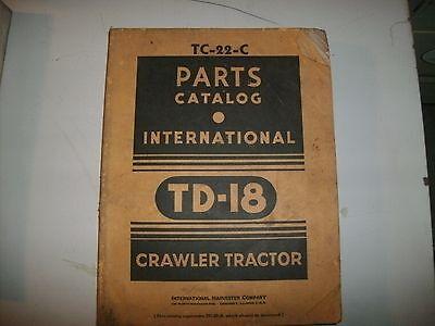 International Td-18 Crawler Tractor Parts Catalog Tc-22-c Harvester