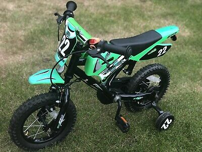 Motorbike Style MX12 Kids Bike, 12 Inch Wheel- Green, 3-5 Years Old