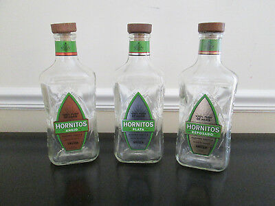 Lot of 3 Empty 750 ML Hornitos Tequila Bottles and Corks, Anejo, Plata, Reposado