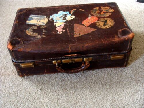 Original Vintage Leather Suitcase 1930s With Authentic Travel Stickers/Decals