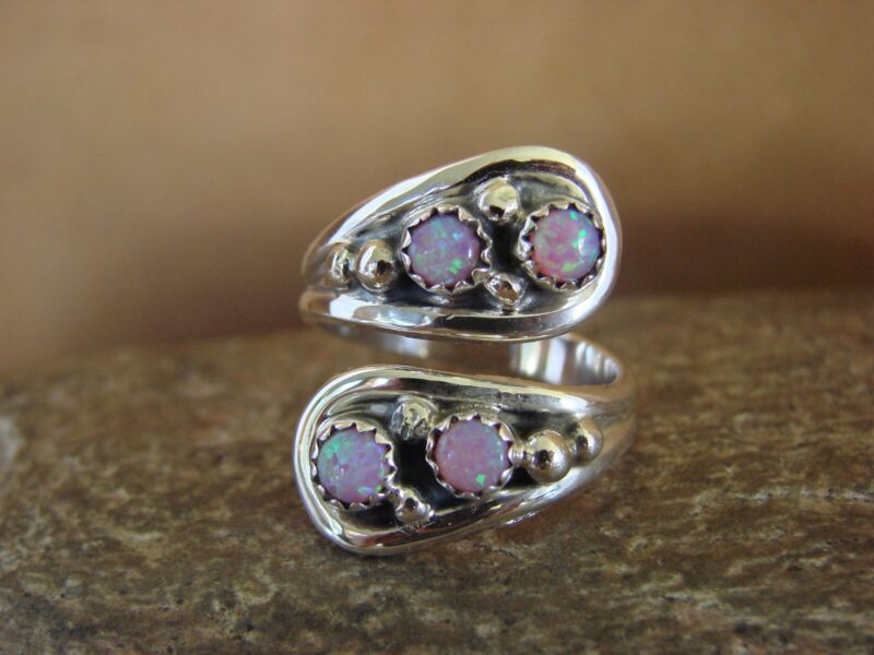 Native American Indian Jewelry Sterling Silver Opal Adjustable Ring!
