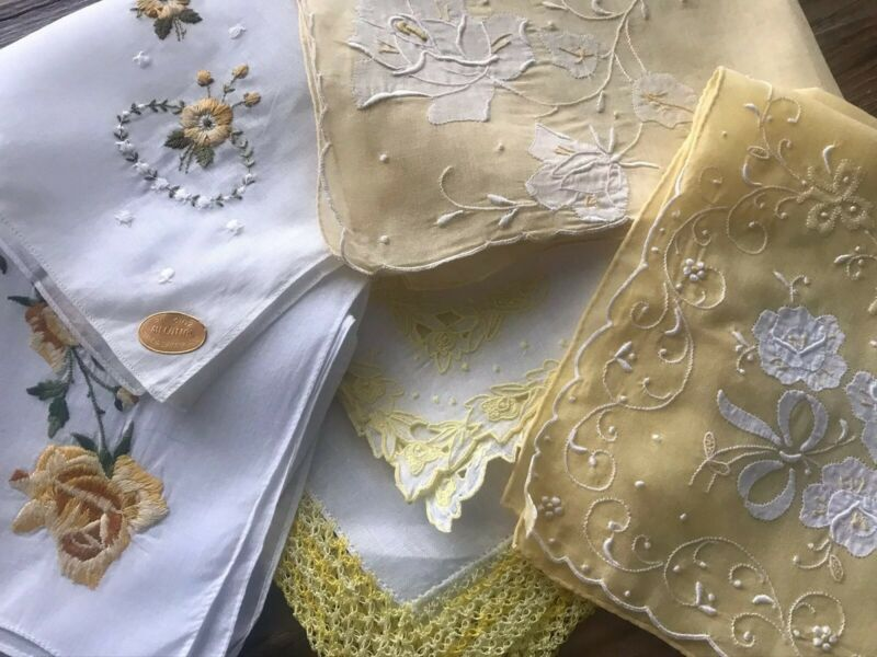 A+ 6 Vintage Madeira Swiss Style Yellow Embroidered Lace Hankies Flowers Spring!