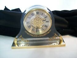 Vintage Bulova Quartz Desk Mantel Clock Lucite & Brass Gear Design Made in Japan