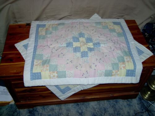 Vintage Pair of Trip Quilted Pillow Shams