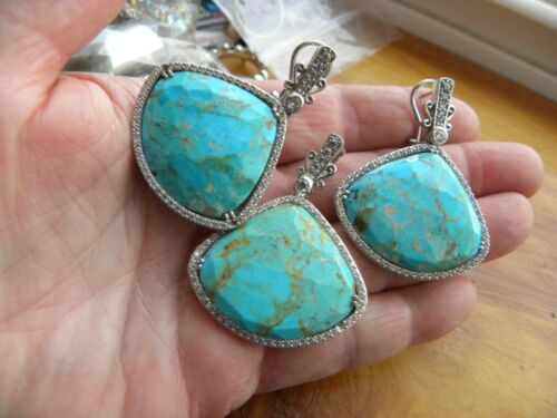 DALLAS PRINCE TURQUOISE, WHITE TOPAZ, STERLING SILVER EARRINGS & PENDANT SET