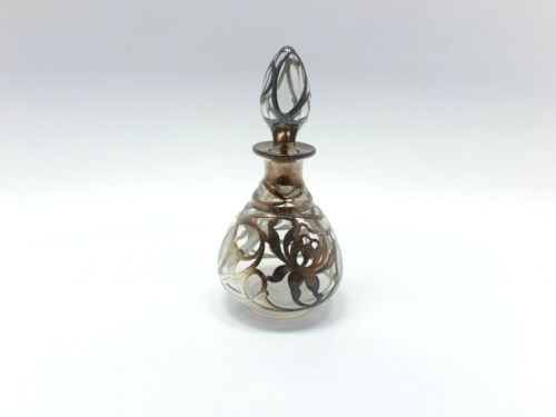 Antique Art Nouveau Sterling Silver Overlay Glass Perfume Bottle Flower Design