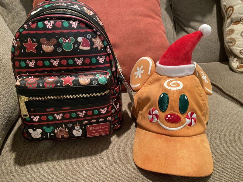 2019 Disney Parks Christmas Holidays Treats Snacks Loungefly Backpack & Hat.