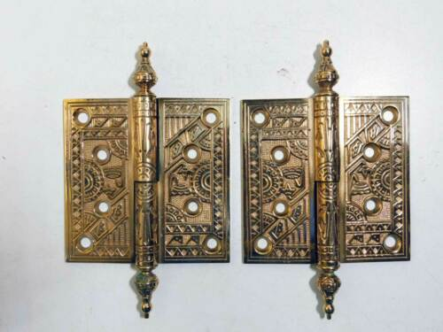 "1875 Antique 4"" x 4"" Solid Cast Bronze Ornate Lift-off Door Hinges RH One Pair"