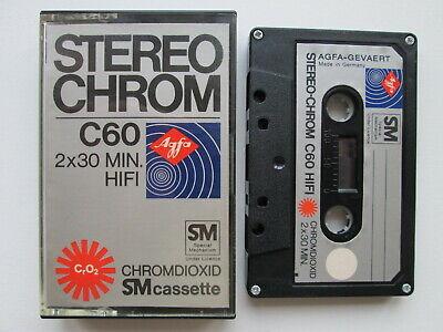 TAPE Vintage AUDIO CASSETTE  AGFA STEREO CHROM C 60 CHROMDIOXID SM GERMANY
