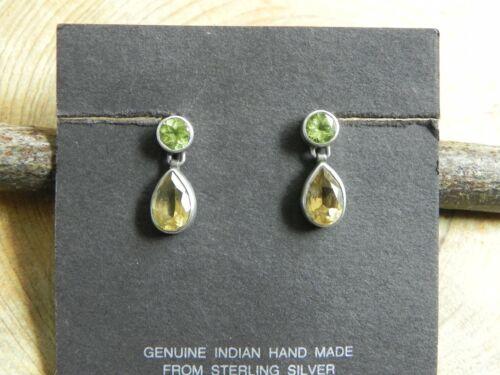 Peridot, Citrine & Sterling Silver .925 dangle Earrings Thailand