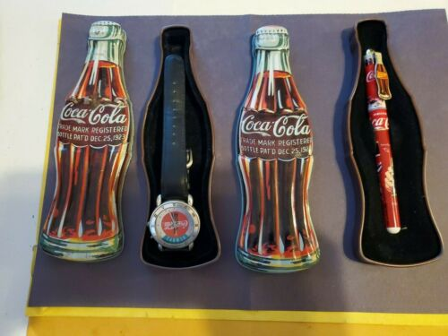 1997-COCA COLA WATCH & Pen WITH BOTTLE SHAPED METAL TIN
