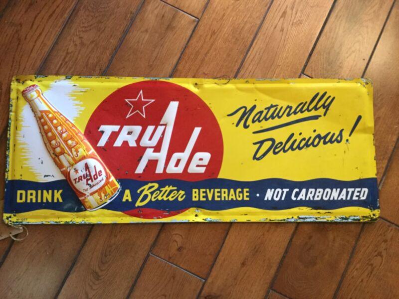 "Vintage Embossed Tin Tru Ade Orange Soda Metal Country Store  Sign 12"" x 30"""