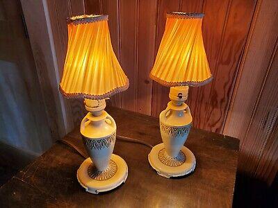 TWO Vintage Porcelain Shabby Roses Lamps Pink Blue Yellow Boudour Buffet  Light