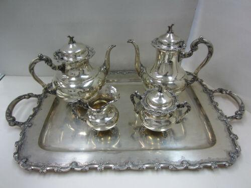 Beautiful Vintage Portuguese 833 Silver Coffee & Tea Set w/ Tray 5pc. - Lisbon