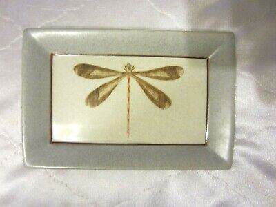 Homart Gray Dragonfly Decorative Rectangular Dish Vanity Tray NEW NR