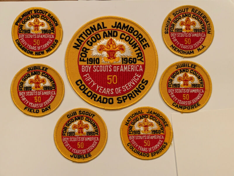 BSA 50th Anniversary Set Mint Condition 7 Patches Mint