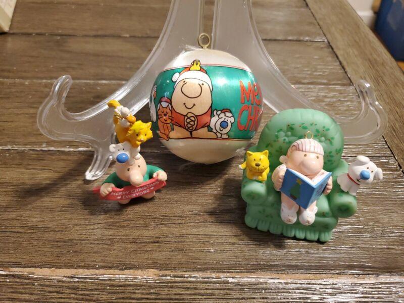 3 Vintage Ziggy Christmas & Fuzz Ornaments