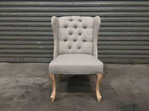 NEW WING CHAIR: ELISE BEAUTIFUL DESIGN CARVED TIMBER LEGS TUFTED Leumeah Campbelltown Area Preview