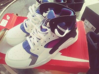 best cheap cdd31 2c97f Size 10.5 Nike Men Air Flight Huarache PRM QS 686203 100 White Black Blue  Purple