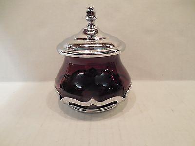 Farber Bros Krome Kraft Amethyst Glass Lidded Sugar Bowl Art Deco Chrome