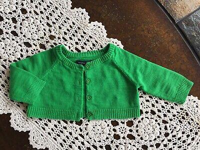 Baby Gap Girls Cardigan Crop Button Down Long Sleeve Green Sweater Sz 0-3 Month