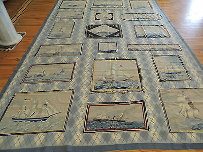 Sea & Boating Boats Unique Needlepoint Oriental Area Rug 10x14
