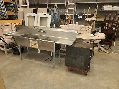 3-compartment Stainless Steel Kitchen Commercial Sink 7 Long Pickup In Sc