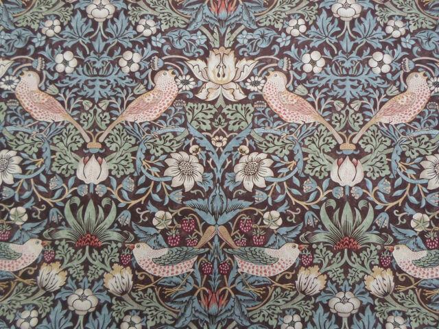 William Morris & Co Curtain Fabric 'Strawberry Thief' 1 METRE Chocolate/Slate