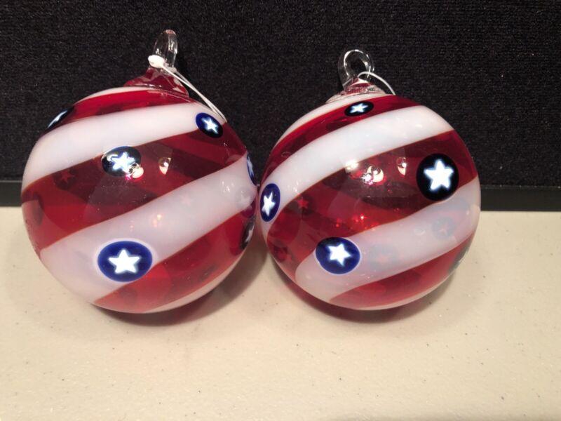 Thick Glass Handblown Patriotic Ball Ornaments Red White Blue