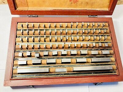 Complete 81 Piece Gage Block Set Class A With Certification And Wooden Case