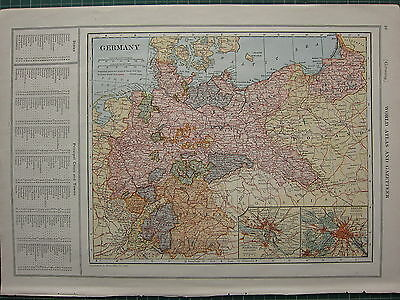1926 MAP ~ GERMANY PRINCIPAL CITIES & TOWNS HAMBURG BERLIN BAVARIA PRUSSIA