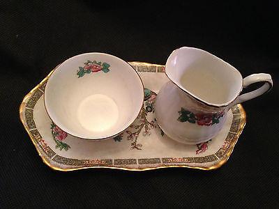 "Elizabethan English Bone China Sugar Bowl, Creamer w/Tray ""Indian Tree"""
