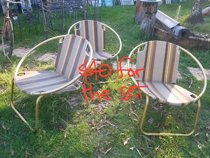 Set of 3 retro anodized aluminium chairs
