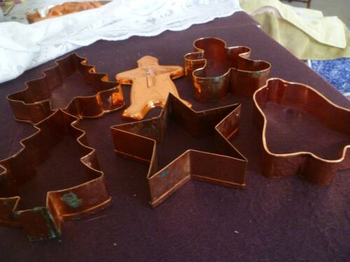 Cookie Cutters 6 Copper Christmas cutters total 5 to 6 inch
