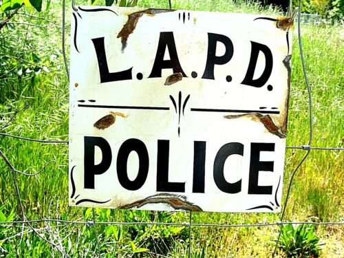 Vintage Painted LAPD POLICE STATION Department Sign Los Angeles Highway Patrol z