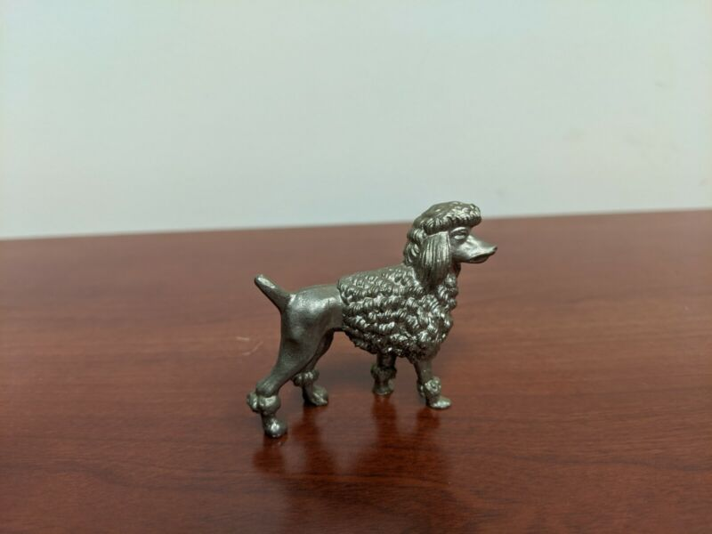 """Vintage Mini Pewter Poodle 1 3/4"""" Tall"""