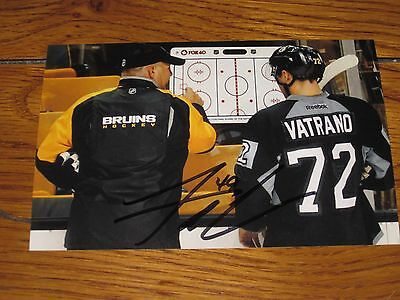 Frank Vatrano Autographed Boston Bruins 4X6 Photo With Claude Julien   7