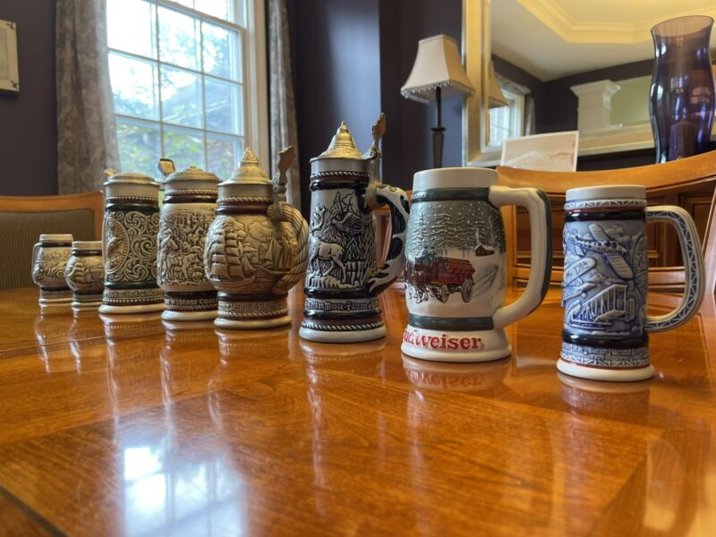 Lot of 7 Avon Vintage Collectible Beer Steins, 70