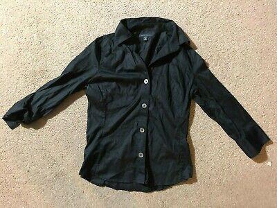 BANANA REPUBLIC Women's Button Close Shirt (Size: M, Color: Black, Cotton)