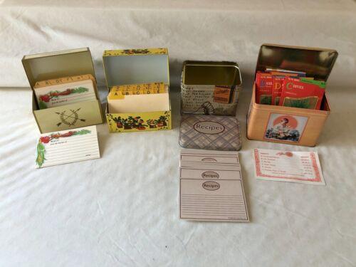 Lot of Vintage Metal Recipe Boxes