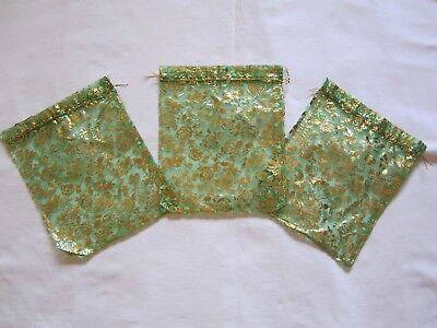 100 Organzabeutel -  Grün - 25x20 cm **extra groß** - mit goldenen Rosen