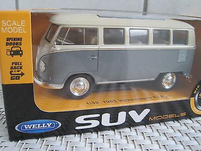 VW Bus T1 1963 grau ca.13,5cm Maßstab 1:32 ideal als Ladegut *NEU* Top Auto