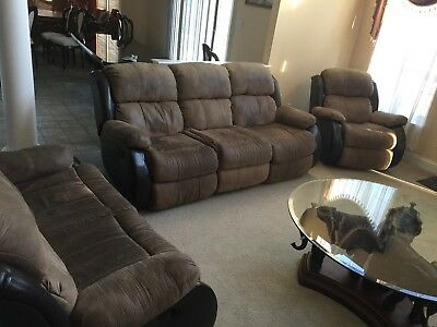 3 Piece Living Room Set Ritzy Chocolate Brown Microfiber Sofa Loveseat & Chair