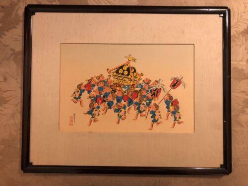 2 FRAMED ORIGINAL VINTAGE WOODBLOCK HITOSHI PRINTS JAPAN SIGNED MODERN