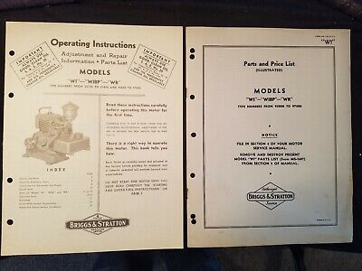 Briggs Stratton Models Wi Wibp And Wr Operating Instructions Parts List